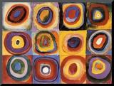 Etude de couleurs, carrés avec des cercles concentriques (Farbstudie Quadrate, vers 1913) Affiche montée sur bois par Wassily Kandinsky