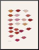 Stamped Lips, c. 1959 Montert trykk av Andy Warhol