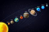 Solar System Astronomy Banner Art par  Macrovector