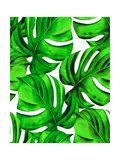 Seamless Monstera Leaves Pattern. Tropical Palm Leaves in Allover Composition. Design for Fashion O Posters por  rosapompelmo