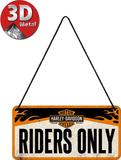 Harley Davidson - Riders Only Plaque en métal
