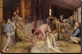 Shearing the Rams キャンバスプリント : トム・ロバーツ