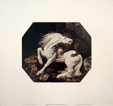 A Lion Devouring a Horse Posters af Geore Stubbs