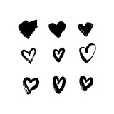 Heart Icons Set, Hand Drawn Icons and Illustrations for Valentines and Wedding Design. Sketch Grung Poster av  appler