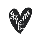 Black and White You and Me Hand Lettering in a Heart Shape. Can Be Used as a Greeting Card for Va Affischer av  TashaNatasha