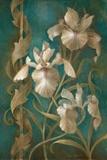 Irises on Teal Poster par Elaine Vollherbst-Lane