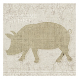 Burlap Farm Animals 3 Posters by Melody Hogan