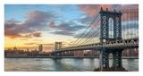 Manhattan Bridge at sunset, NYC Reproduction procédé giclée par  Anonymous