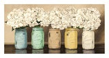 Hydrangeas in Mason Jars Lámina giclée por Jenny Thomlinson