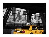 Taxi on the Queensboro Bridge, NYC Impressão giclée por Michel Setboun