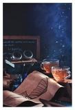 Steampunk Tea (with Goggles And Blueprints) Reproduction procédé giclée par Dina Belenko