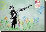 Gun Stretched Canvas Print by  Banksy