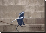Tightrope Stretched Canvas Print by  Banksy
