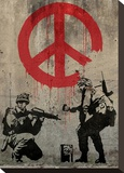 Peace Stretched Canvas Print by  Banksy