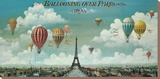 Ballooning Over Paris Stretched Canvas Print by Isiah and Benjamin Lane