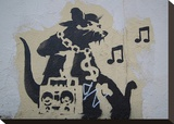 Ghetto Blaster Rat Stretched Canvas Print by  Banksy