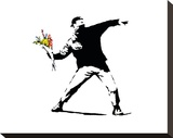 Flower Chucker Stretched Canvas Print by  Banksy