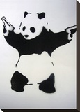 Pandamonium Stretched Canvas Print by  Banksy