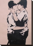 Kissing policemen Stretched Canvas Print by  Banksy