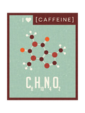 Retro Scientific Poster Banner Illustration of the Molecular Formula and Structure of Caffeine Posters af  TeddyandMia