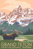 Grand Teton National Park - Moose and Mountains Bedruckte aufgespannte Leinwand von  Lantern Press
