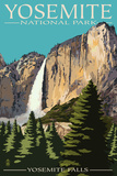 Yosemite Falls - Yosemite National Park, California Poster di  Lantern Press