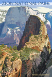 Zion National Park - Angels Landing Poster di  Lantern Press