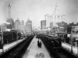 Brooklyn Bridge East River Kunstdrucke von HA Dunne