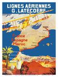 France - Spain - Morocco - Lignes Aeriennes (Aéropostale) Prints by  Pacifica Island Art