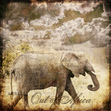 Vintage Elephant - Square Posters van  Lebens Art