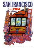San Francisco, USA - Fly TWA (Trans World Airlines) - Presidio, California, Market Street Cable Car Posters by David Klein