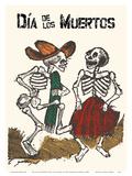 Mexico - Dia de los Muertos (Day of the Dead) - Dancing Skeletons Plakat af Jose Guadalupe Posada