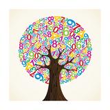 School Education Concept Tree Made with Numbers Poster tekijänä  Cienpies Design