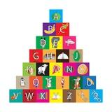 Children's Alphabet Building Blocks Isolated on White Premium Giclee-trykk av Bernard Rabone