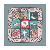 Mosaic Design with Different Religious Catholic Symbols ポスター : Bernardo Ramonfaur