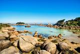 Ploumanach, Rocks and Bay Beach in Morning. Pink Granite Coast, Perros Guirec, Brittany, France Fotografie-Druck von  stevanzz
