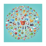 Toddler, Baby and Children's Toys Icons Arranged in Circle on Turquoise, Flat Design Prints by  Hoch2Wo
