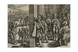 Civilis, Tutor, Classicus, ende andere Triersche comen tsamen secretelyck in een borghers huys bin Giclée-tryk af Antonio Tempesta