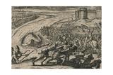Een Schip met coren gheladen blyft op een drooghte Sitten; de Duytschen pooghent naer hen te trecke Giclée-tryk af Antonio Tempesta