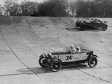 Lagonda and Alfa Romeo on the banking at the JCC Double Twelve Race, Brooklands, Surrey, 1929 Reproduction photographique par Bill Brunell