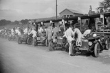 Triumph and Riley cars in the pits at the RAC TT Race, Ards Circuit, Belfast, 1929 Reproduction photographique par Bill Brunell