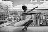 Ballerina Balancing on a Rooftop in Medellin Photographic Print by Kike Calvo