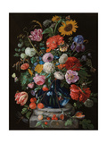 Tulips, a sunflower, an iris and numerous other flowers in a glass vase on marble column base Giclée-Druck von Jan Davidsz. de Heem