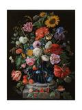 Tulips, a sunflower, an iris and numerous other flowers in a glass vase on marble column base Giclée-vedos tekijänä Jan Davidsz. de Heem
