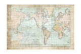 World Map Vintage 1913 Posters by Ramona Murdock