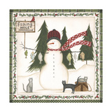 Fishing Hole Snowman Poster by Cindy Shamp