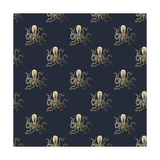 Gold Octopus Pattern Prints by Ramona Murdock
