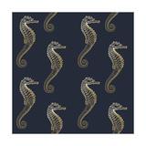 Gold Seahorse Pattern Print by Ramona Murdock