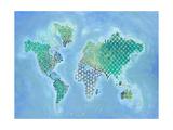 Global Patterned World Map Pósters por Arnie Fisk