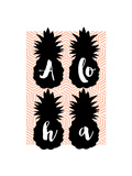 Aloha Pineapples Peach Affiches par Bella Dos Santos